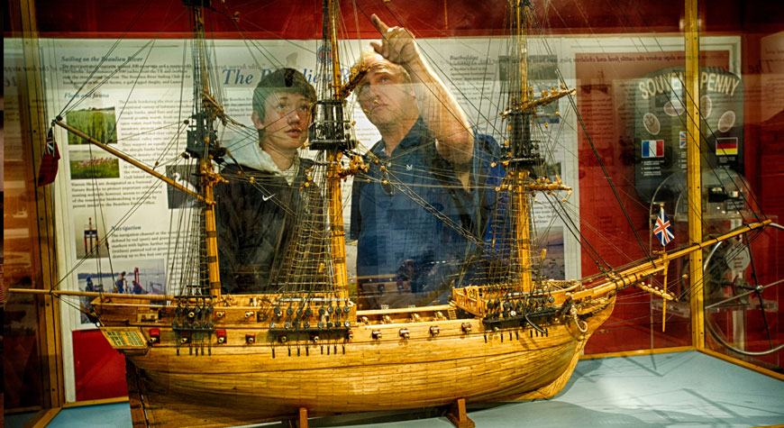 Admiring a model ship in the Maritime Museum