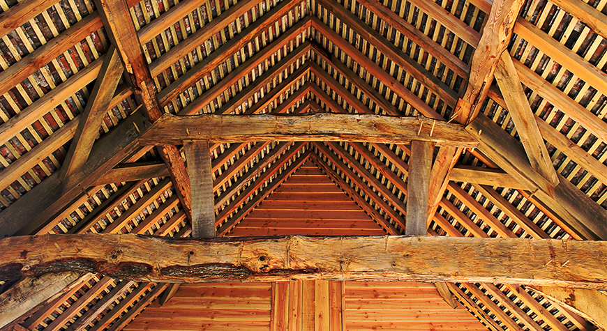 The timber roof of the Shipwright Workshop