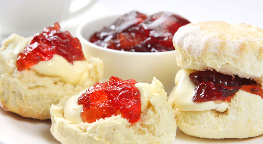 Cream tea scones and jam