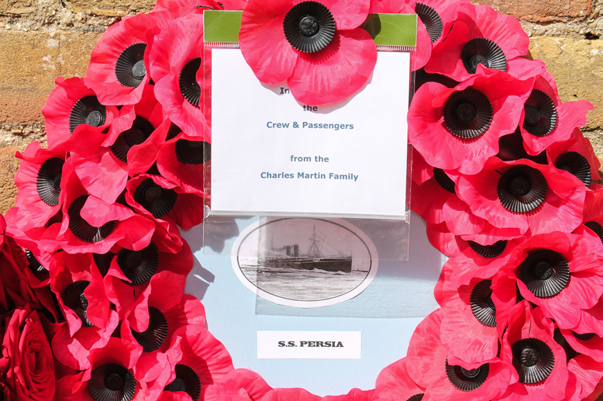 SS Persia poppy wreath laid at Act of Remembrance