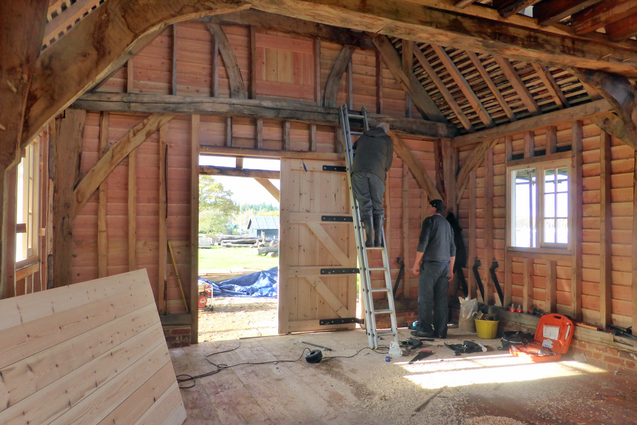 Working on the interior of the Shipwright School