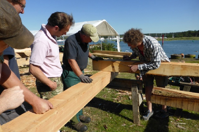 Students on the timber framing course