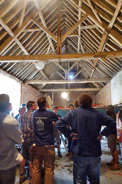 Timber frame apprentices visit one of the Beaulieu Estate barns