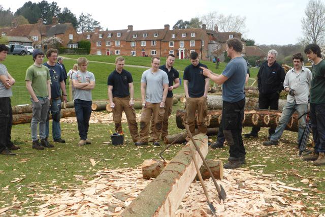 Timber frame apprentices gather at Buckler's Hard