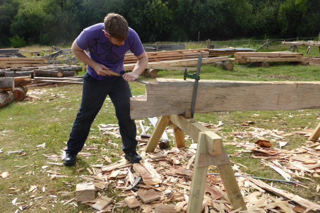Timber framing student at work