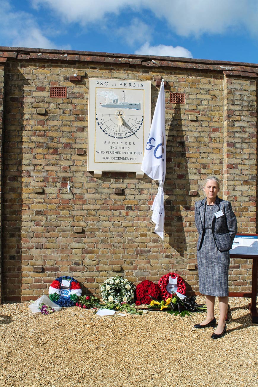 Mary Montagu-Scott with wreaths laid at SS Persia memorial