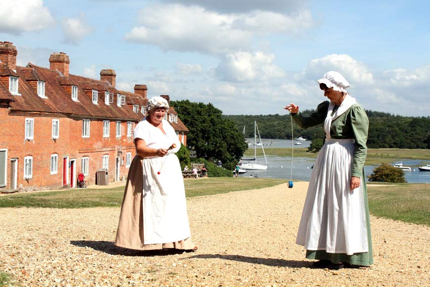 Living history characters on Buckler's Hard high street
