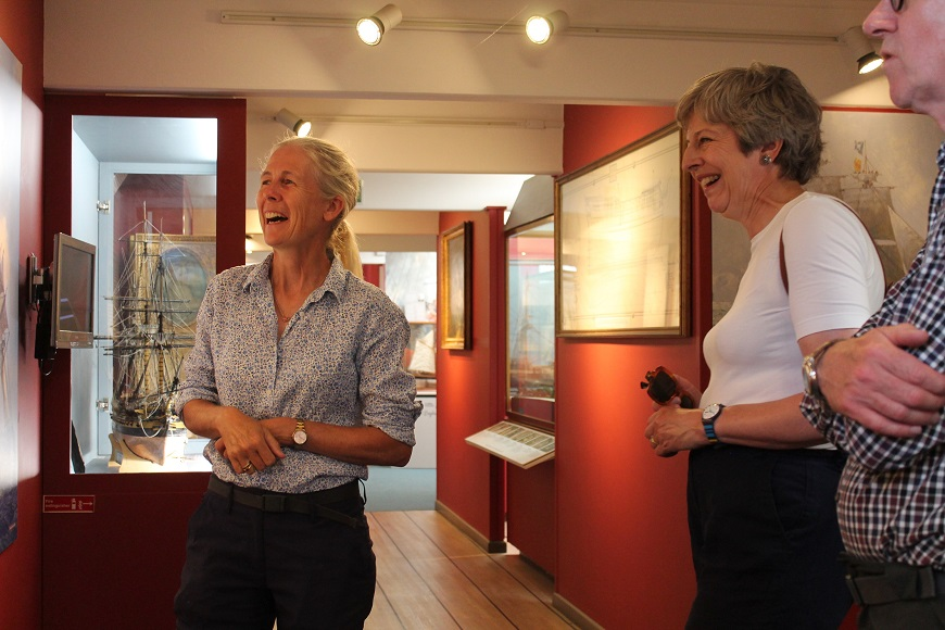 Desktop-news-Mary Montagu-Scott shows Theresa and Philip May around the Maritime Museum at Buckler's Hard-(870x580)
