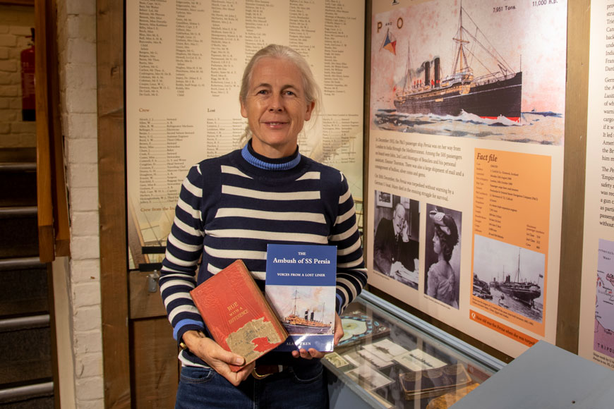Mary Montagu-Scott with Rue with a Difference and The Ambush of SS Persia in the SS Persia display