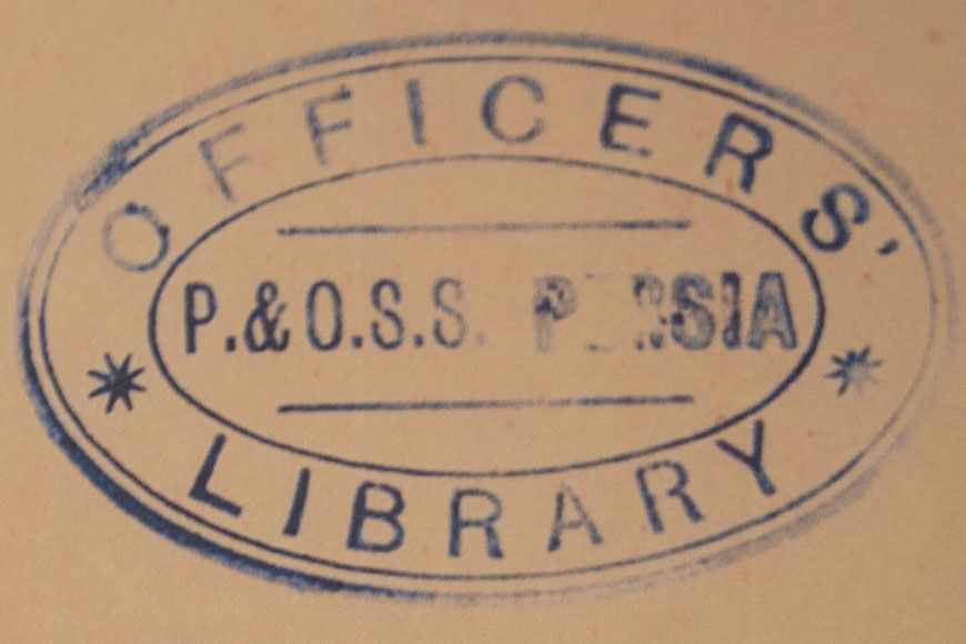 SS Persia Officers' Library mark on Rue with a Difference