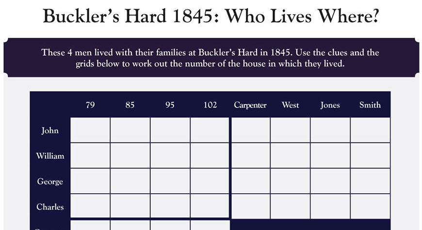 Buckler's Hard 1845 logic puzzle